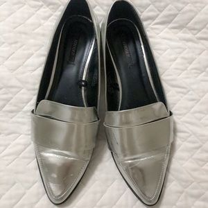 Silver Loafer Flats